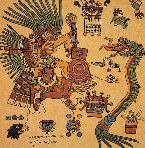 "Quetzalcóatl, means (from Nahuatl quetzalli, ""tail feather of the quetzal bird [Pharomachrus mocinno],"" and coatl, ""snake""), Feathered Serpent."