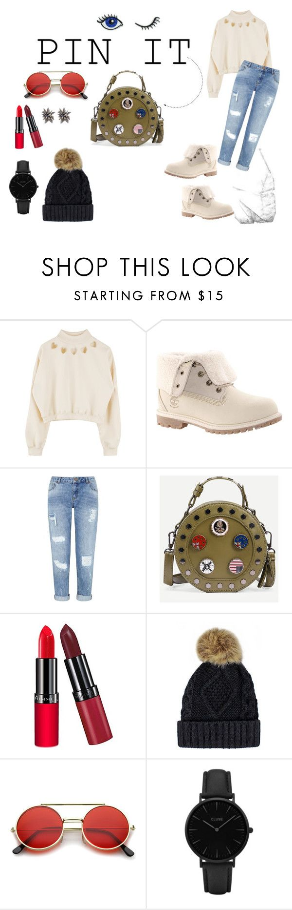 """""""PIN IT"""" by cc-carmen on Polyvore featuring moda, Timberland, Miss Selfridge, Rimmel, ZeroUV, CLUSE, Alexis Bittar, booties, pinit y wintersweater"""
