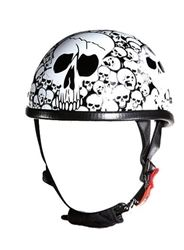 Check out the novelty motorcycle helmet with white skull bone yard pattern. Novelty motorcycle helmets are not DOT approved. #bikers #skulls