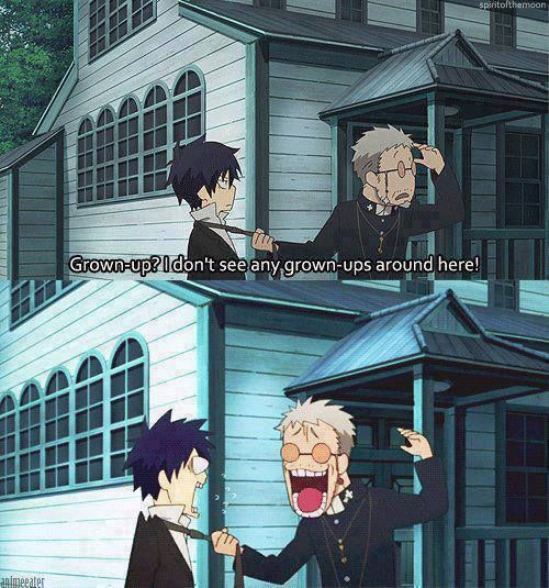Blue Exorcist ~~ Shiro is WHY Rin is so cool! What a great dad he was for BOTH of the twins!