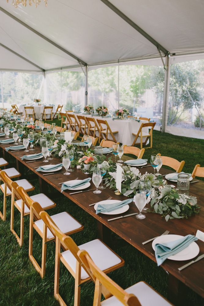 Green garland centerpieces are perfect for farm