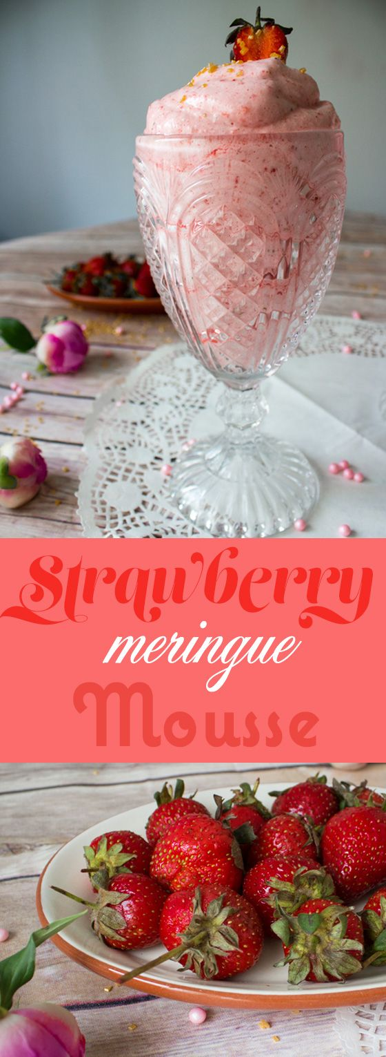 Strawberry meringue mousse, prepared with egg whites and hot sugar syrup, topped with fresh strawberries.