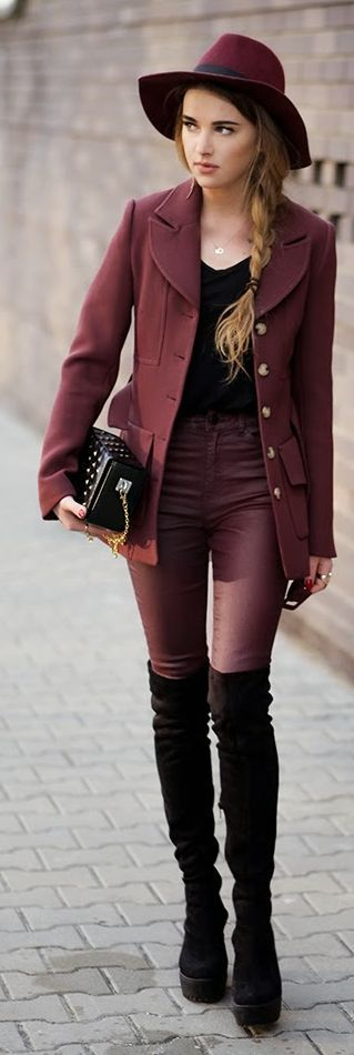 Burgundy And Black Outfit by Maffashion
