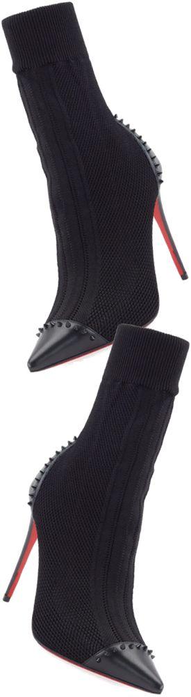 Christian Louboutin Dovi Dova Knit Red Sole Bootie, Black