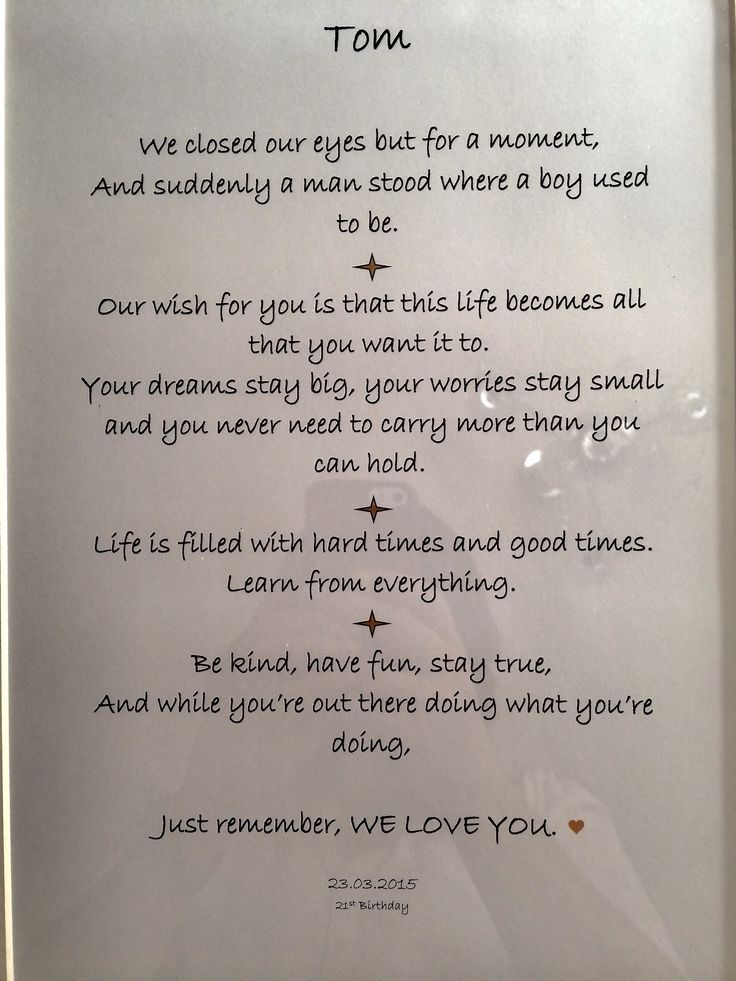 Beautiful framed words of wisdom I put together for my sons 21st birthday. Read more on the blog.: