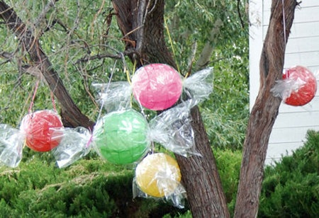 Looks like candy. Balloon wrapped and twisted in clear wrap.Great for birthday partys. Hang them anywhere.