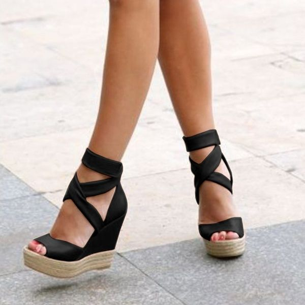 Lace up wedge sandals, Open toe shoes