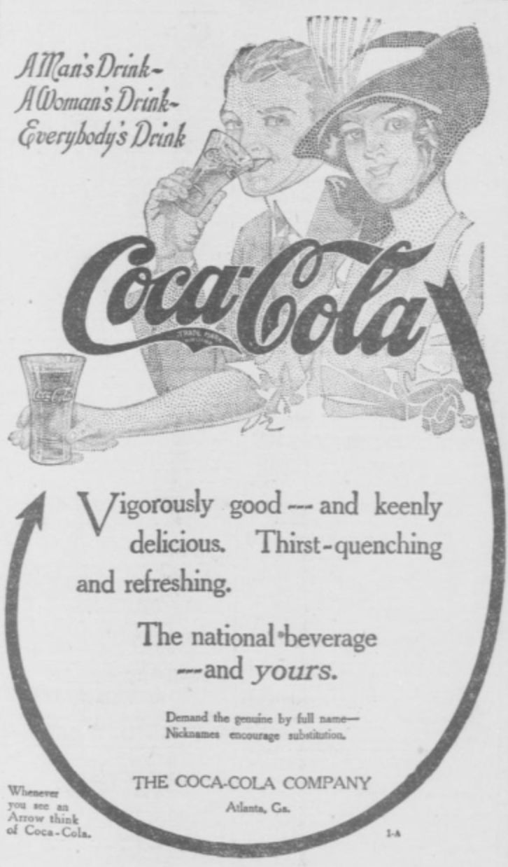 Coca-Cola advertisement in 1914 newspaper. #history #interestinghistory #oldtimey #cocacola #soda #coke #sodapop