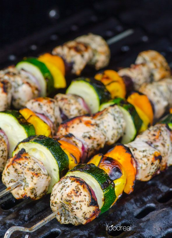 Greek Style Chicken Kebabs Recipe -- Grilled chicken and vegetable skewers that are so darn easy to make and are delicious. Kids love these!