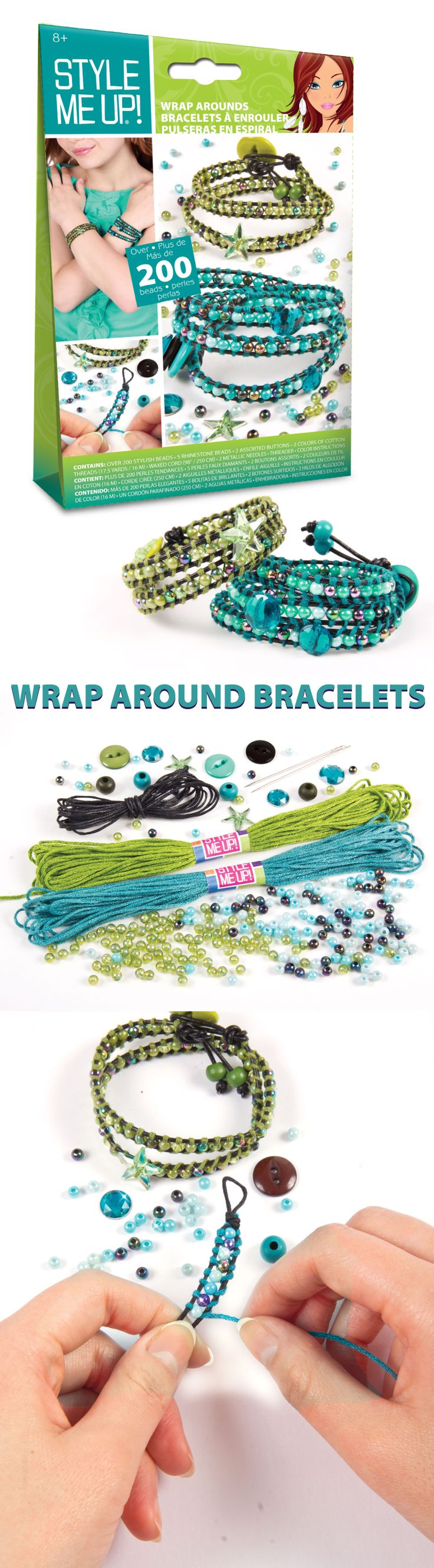 Get the layered look with only one bracelet! Over 200 stylish beads included