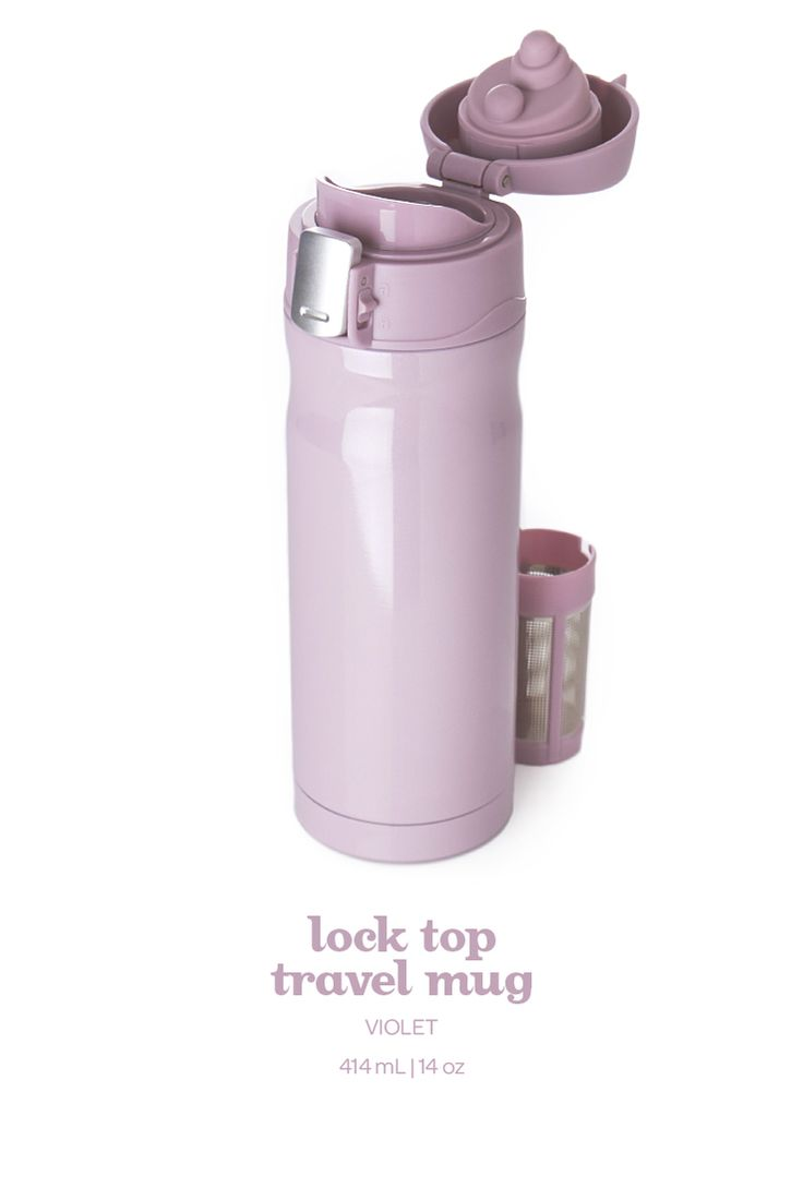 This soft purple mug with a leakproof lid keeps your tea nice and toasty for hours.