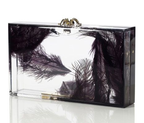 Charlotte Olympia Pandora Feather Clutch - loving the illusion of floating feathers.