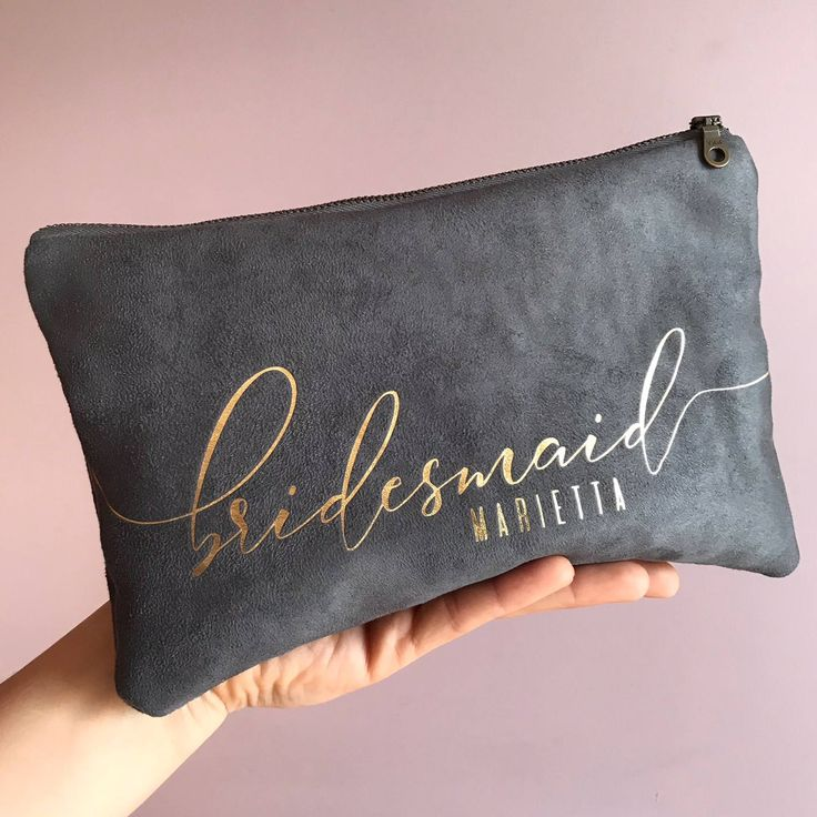 Personalized Gifts For Bridesmaid Vegan Suede Clutch Bag