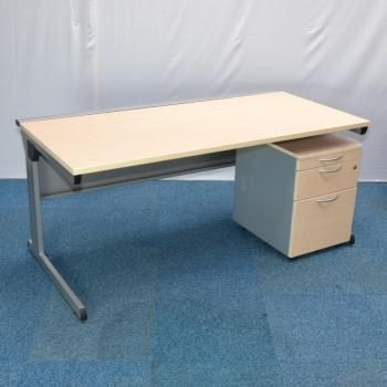 Carleton Maple 1600 Straight Desk With Wooden Ped Used Office Desks