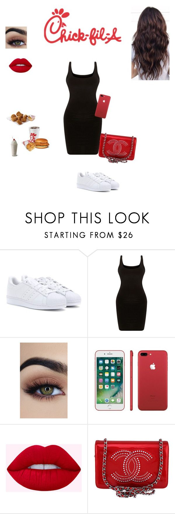 """Chick-fil-A outfit❤️"" by sabellacunningham ❤ liked on Polyvore featuring adidas and Chanel"