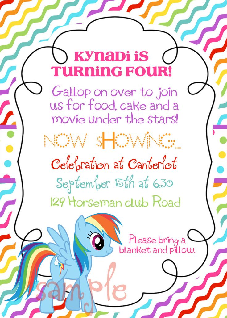 Best My Little Pony Party Images On Pinterest Birthday - My little pony birthday party invitation template