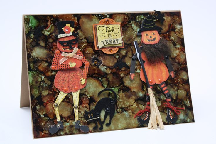 Spooky poseable Pumpkin people Halloween greeting card on Yupo paper and Alcohol…