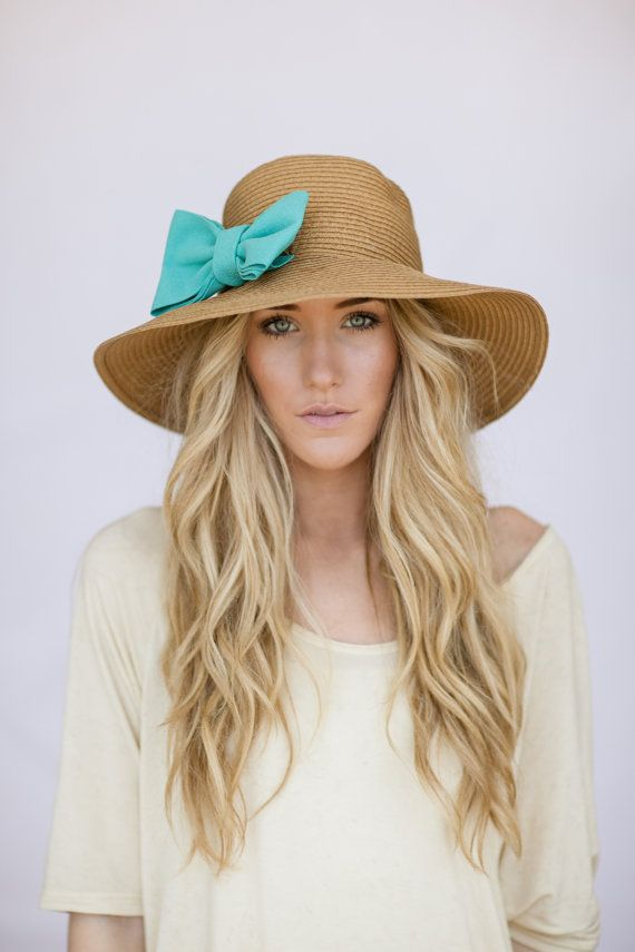 Floppy CLOCHE Sunhat with Mint Bow Sun Hat por ThreeBirdNest, $48.00