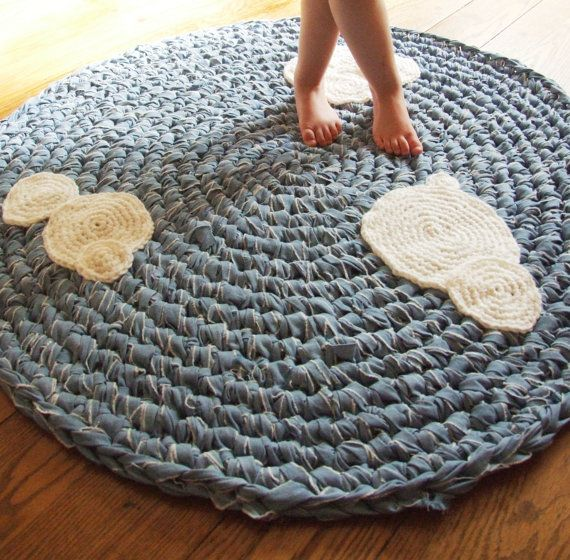 This is a custom listing for a shipping bundle of the cloud rug shown and shipping to Hong Kong. ***please do not buy unless you are Moess!!!***      Now on SALE for a limited time!!  Made from an upcycled cotton lightweight denim-like fabric, this round crochet rug is adorned with abstract, modern white crochet clouds. Perfect for a nursery or childrens bedroom and playroom, your little one will feel as if he or she is sitting in the sky, among the clouds. The neutral colors work great for…