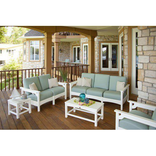 5 Piece Outdoor Patio Set with Spa green Cushions via The Beach Look. Click on the image to see more!