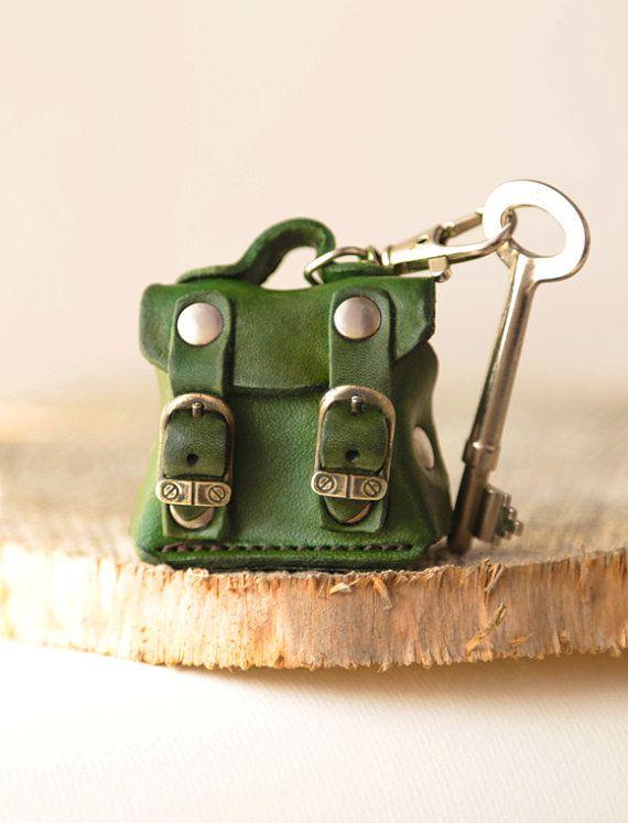 Tiny bag, leather keychain, keyring, keyfob, keyholder, men  keychain, women keychain. For Her. For Him.