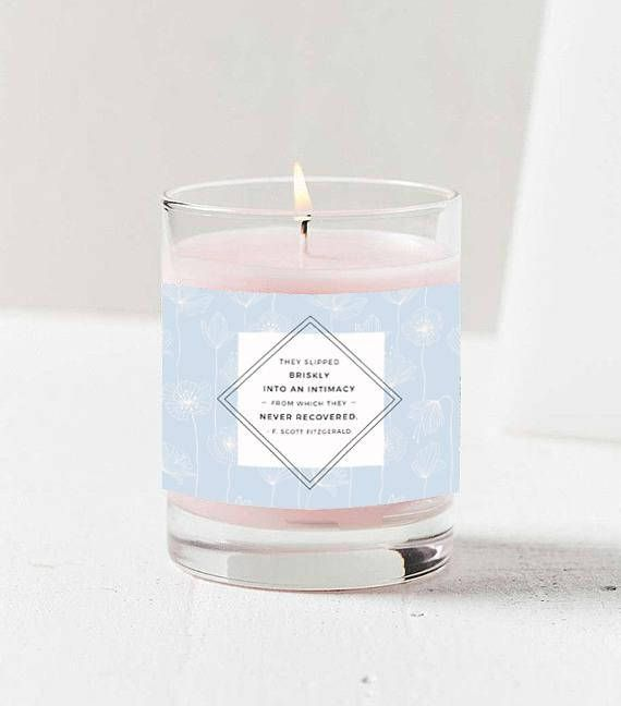Candle Quote, F. Scott Fitzgerald Quotes, Editable Candle Label, Photoshop Template, PDF, jpg file, INSTANT DOWNLOAD!