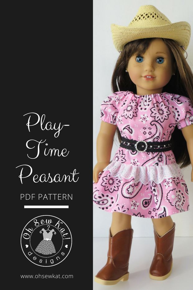 Lace Skirt Country Western Doll Clothes by Oh Sew Kat patterns