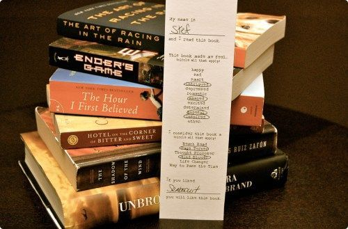 hosting a book swap (with book swap/book review bookmarks)   Haute Apple Pie