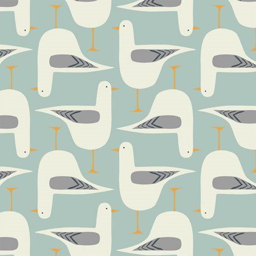 Jenny Lee-Katz textiles. Though this appears to be contemporary, I like the colors a lot. Just not a big Gull fan...