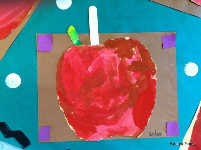 PAINTED PAPER: Candied Apples at the County Fair...good for young artists...could adapt and do popsicles, lollipops, other things utilizing craft stick and simple painting/gluing