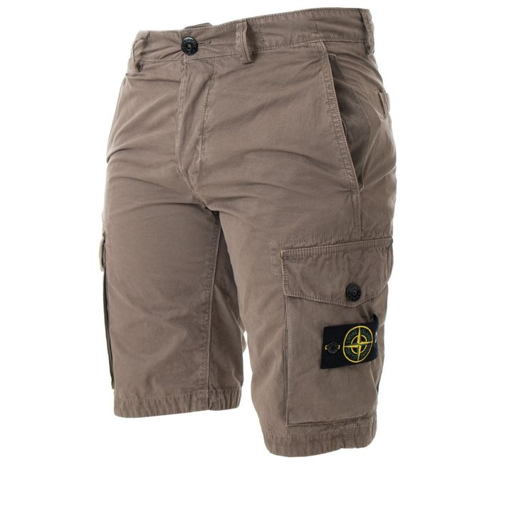 Brushed Cargo Shorts in Taupe by Stone Island.