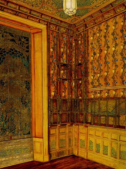 The Peacock Room did not always appear as it does currently in the Freer Gallery of Art. Architect Thomas Jeckyll, and first owner Frederick Leyland conceived of the room as a sort of neo-rococo exercise in chinoiserie. The long windows on the east side overlooked a private park, and the décor was meant to evoke a European notion of a Chinese garden pavilion. http://peacockroom.wayne.edu/history-london Rendering by Peter Nelson