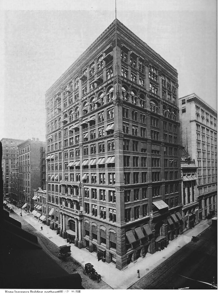 Debatably, the first skyscraper erected is the Home Insurance Building in Chicago, which was 10 stories, supported by steel and constructed in 1895. In fact, the building weighed 1/3 of what it would have weighed if it had been constructed from stone. In 1890, two additional floors were built on top of the original 10-story building.