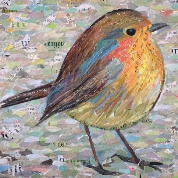 ROBIN VIII (work in progress...)  100% collage /  paper on plywood /  23 x 23cm / ©philippe patricio / all rights reserved