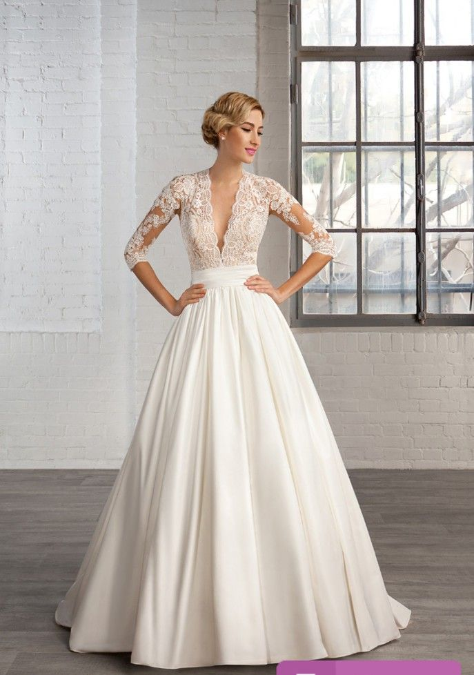 Find More Wedding Dresses Information about SA322 See Through V Neck Three Quarter Sleeve Lace L ...
