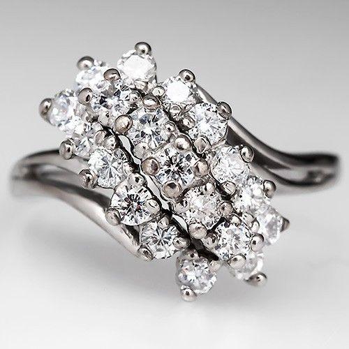 Vintage Diamond Waterfall Cocktail Ring 14k White Gold