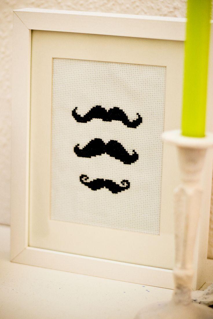 Homemade cross stich mustache x 3