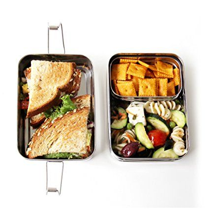 Amazon.com: ECOlunchbox Three-in-One Stainless Steel Food Container Set: Bento Boxes: Kitchen & Dining
