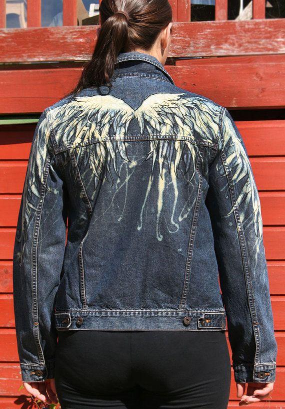 Angel wings woman denim jacket. Hand bleached Angel Wings