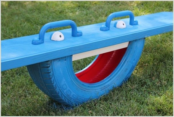 Interesting DIY Ideas to Recycle Old Tires With Painted Tire Totter