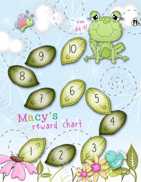 Hop to It - Boy or Girl - Printable PDF Reward Behavior Chore Sticker Potty Chart - PERSONALIZED with your Child's Name at www.kottageon5th.etsy.com