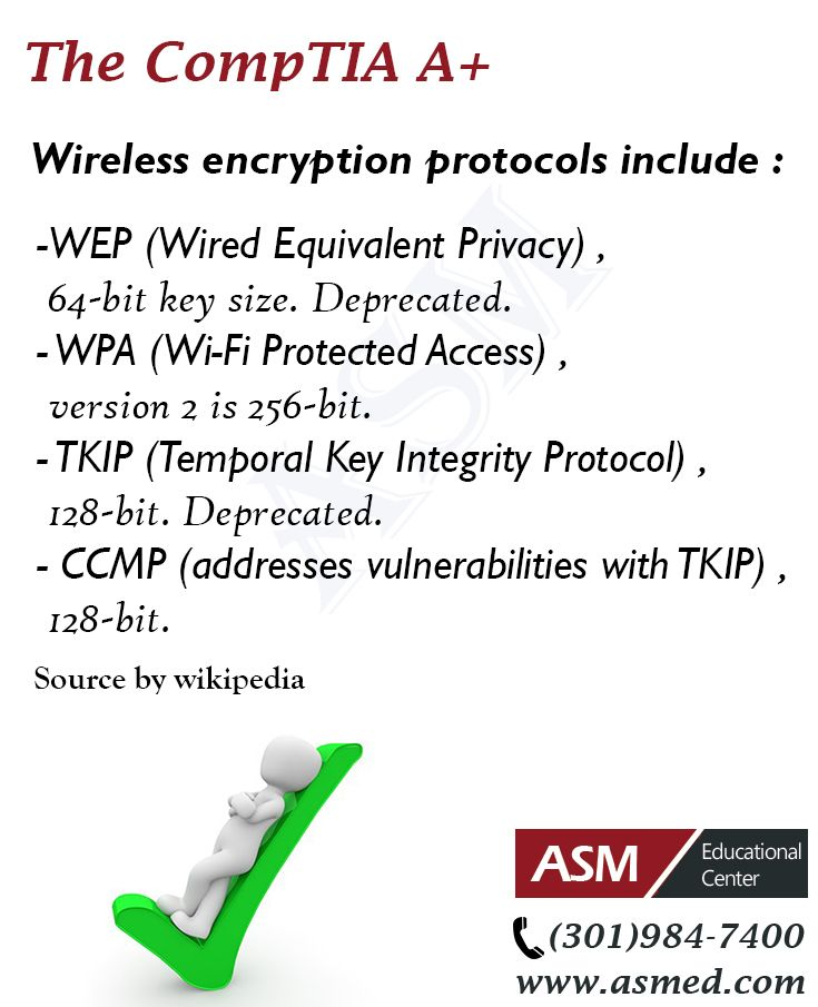 CompTIA A+Training / Tip -Wireless encryption protocols . For more information to get certified for Microsoft, CompTIA A+, Network+, Security+ and Cisco CCNA, CCNP   please visit: http://www.asmed.com/information-technology-it/