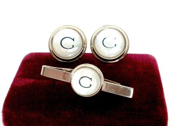 Mother Of Pearl Cufflinks Tie Clip Set by BunnyFindsVintage #mens #monogram #tietack #cufflinks
