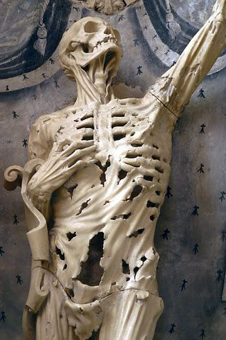 """Le Squelette"" is a 1545 statue of a three-years-dead corpse--standing erect, of course--in the Saint-Étienne church in Bar-le-Duc, Lorraine, France."