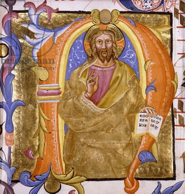Christ as the Light of the World. Attributed to Martino di Bartolomeo (fl.1389-1434). Large historiated initial 'n' on antiphonal vellum. Created circa 1400. 21.7 x 16.3cm. Made in Tuscany