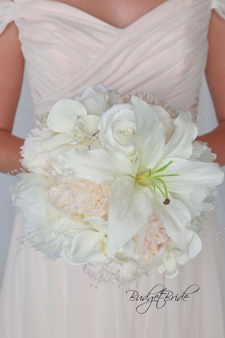Pearl Davids Bridal Wedding Bouquet With Lilies And Orchids In Silk Fake Cheap Flowers