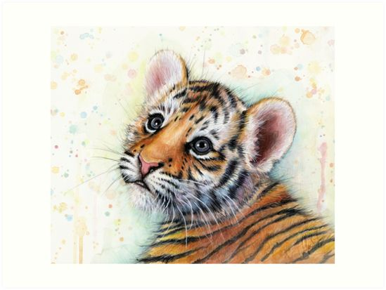 Tiger Cub Watercolor Art by OlechkaDesign