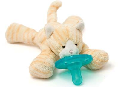 Used in NICU and well-baby units nationwide, WubbaNub pacifiers are soothing and easier for both mom and baby to use!  Their patented design prevents the paci from being lost, dropped, and even forgotten.  And the carefully calculated size of the plush animal keeps the paci near baby's mouth and is easy for baby to grasp and manipulate.  No more digging around in car seats and carriers for a fallen paci!   More styles available at littleorangefishkids.com