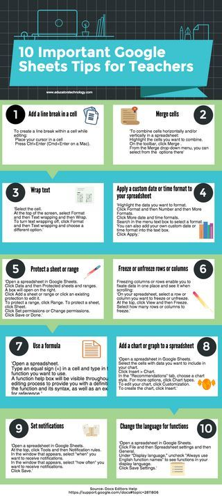 10 Important Google Sheets Tips for Teachers (Educational Technology and Mobile Learning)
