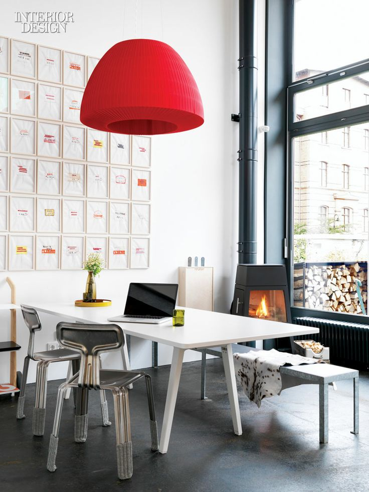 interior design magazine a ronan erwan bouroullec table sits in the office area of german architect anja thedes satellite studio in berlin
